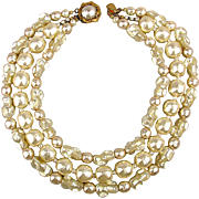 Big Miriam Haskell 3 Strand Baroque Faux Pearl Necklace Bib Collar