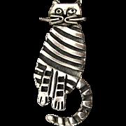 Modernist Sterling Silver Striped Cat Pin Brooch