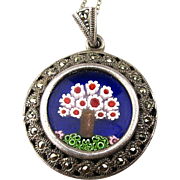 Sterling Silver Murano Glass Millefiori Pendant Necklace w/ Marcasite