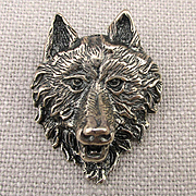 Sterling Silver Figural WOLF Pin Brooch Detailed 3-D