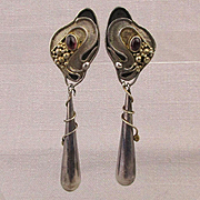 Art Nouveau Revival Sterling Silver Long Drop Earrings