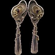 Art Nouveau Revival Sterling Silver Long Drop Earrings