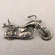 Sterling Silver Motorcycle Pin Brooch Pendant  - Wheels Turn