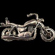 Sterling Silver Motorcycle Pin Brooch Pendant  - Wheels Turn