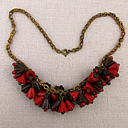 1930s Carved Wood Bells Flower Dangles Necklace