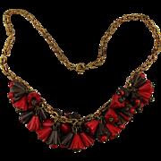 1930s Carved Wood Bells Flower Dangles Necklace