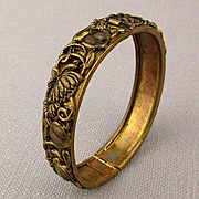 Ornate Victorian Hinge Bracelet Gilt on Brass - Small Wrist