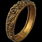 Ornate Victorian Hinge Bracelet Gilt on Brass - Small Wrist