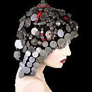 Old Bedouin Hat Headdress w/ Silver Trinkets Beads Ornaments Coins