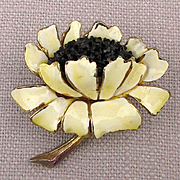 Signed HAR Enamel Rhinestone Sunflower Pin Brooch