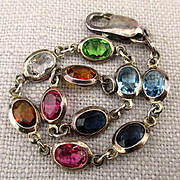 Colorful Swarovski Crystals in Sterling Silver Bracelet