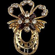 1940s Signed SCITARELLI Rhinestone Pin Brooch