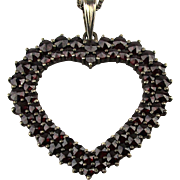 Old Bohemian Garnet Heart Pendant Necklace Sterling Silver