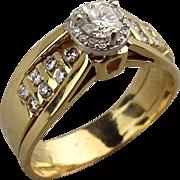 Estate 14K Gold Diamond Ring .64 Carat Halo Design