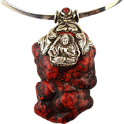 Large Red Faux Coral Pendant Sterling Silver Buddha  925 Necklace
