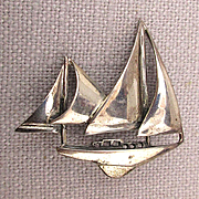 Sterling Silver Sail Boat Pin Two Ships in a Figural Brooch