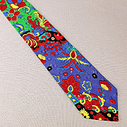 Bold 1980s VERSACE 100% Silk Tie - Great Colorful Print Italy