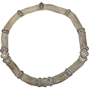 Fine Sterling Silver Byzantine Style Necklace - Foxtail Chains - Ornate Etch Work