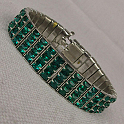 Art Deco Era 3 Row Green Crystal Rhinestone Bracelet