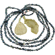 Long Rope Necklace Freshwater Pearls w/ Carved Jade Ends
