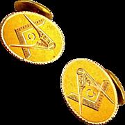 Victorian Gold Clad Masonic Cufflinks Etched Mason Symbol