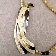 Signed SANDEE Mother of Pearl & Quartz Beads Necklace Exotic Bird