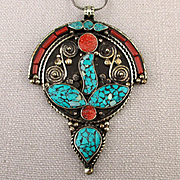 Exotic Tibetan Pendant Necklace Chip Inlay Coral - Turquoise Silver Overlay