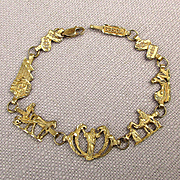 Biblical 10K Yellow Gold Bracelet - Story of Moses in Links