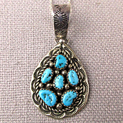 Navajo Sterling Silver Turquoise Pendant Necklace - Kay Begay Rodgers