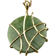 Genuine Jade Jadeite Pendant Wrapped in 10K Gold Necklace