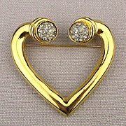 Big Golden Heart Pin Brooch w/ Rhinestone Ends