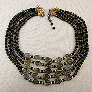 Grand 5 Strand Bead Necklace - Glass Rhinestones Gilt Bib