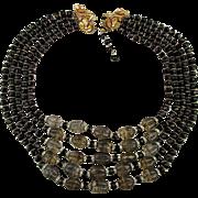 Grand 5 Strand Bead Necklace - Glass Rhinestones Gilt Bib