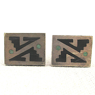 Taxco Modernist Sterling Silver Onyx Overlay Cufflinks