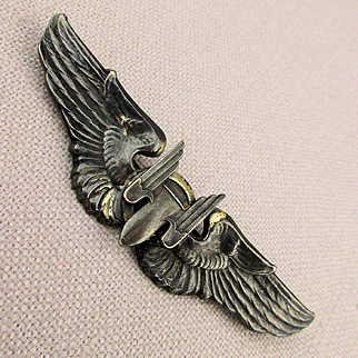 WWII US Military Sterling Silver Air Pilot Bomber Gunner Wings Pin