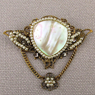 Victorian Style Pin Pendant Faux Pearls Rose Montees Gilt Filigree