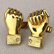 Clever Cufflinks of Hands w/ Cufflinks 1960s Accessocraft Figural