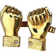 Clever Cufflinks of Hands w/ Cufflinks 1960s Accessocraft Figural