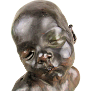 Dalou Sculpture Bronze Cast SLEEPING BABY Alva Museum Replica 1968