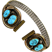 Navajo Sterling Silver - 12K GF Turquoise Watch Tips Watch Band Justin Morris