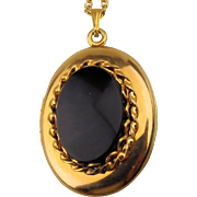 Gold-Filled Locket Necklace w/ Black Onyx