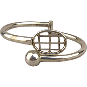 Mexican Sterling Silver Tennis Racket Hinge Clamper Bracelet