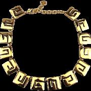 Signed GIVENCHY ~ G ~ Link Necklace - Bold Golden Modernist