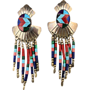 Navajo Sterling Silver Multi Stone Inlay Dangle Earrings Signed TK