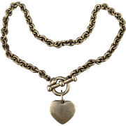 Vintage Espo Sterling Silver Link Chain Necklace w/ Heart