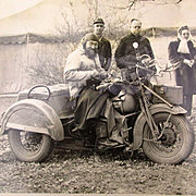 Original 1947 Newswire Photo Motorcycle Biker Dog Tag Man