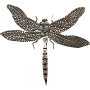 Signed Sterling Silver Dragonfly Pin Big Industrial Design Mechanical 1970s: Large: