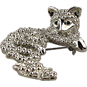 Cat and Mouse Pin - Covered in Clear Crystal Rhinestones