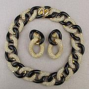 1970s Christian Dior Rhinestone Demi Necklace - Earrings Set - Germany