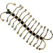 Long 22 Leg Centipede Pin Brooch w/ Rhinestones